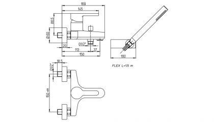 Paini Arena miješalica za kadu i tuš detail